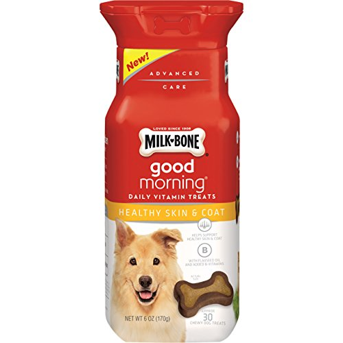 Milk-Bone Good Morning Daily Vitamin Dog Treats, Healthy Skin And Coat, 6-Ounce Bottle, Pack Of 4