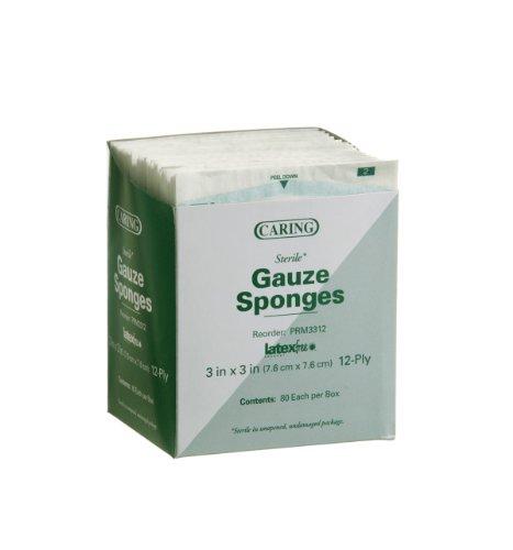 Medline PRM3312Z Caring Woven Sterile Gauze Sponges, 3