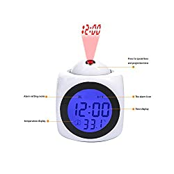 Girlsight Projection Alarm Clock Wake Up Bedroom with Data and Temperature Display Talking Function, LED Wall/Ceiling Projection,Customize The pattern-087.Collage, Dogs, Animals, Dog Puppies