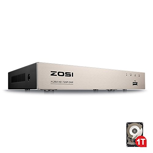 ZOSI 8CH HD-TVI 1080N/720P 4-in-1 Security DVR H.264 Digital video Recorder For 720P,1080P Surveillance Security Camera System (Smartphone& PC Easy Remote Access, 1TB HDD) (H.264 Pc)