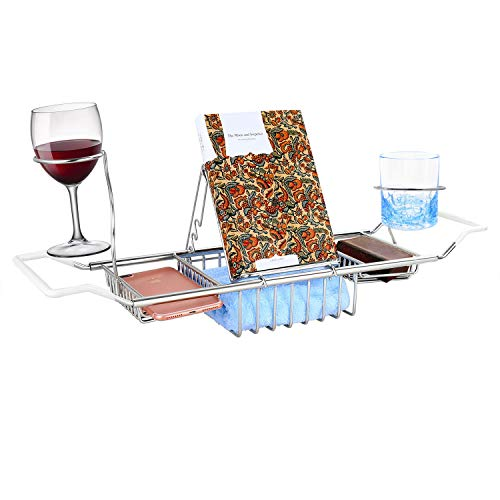 GTHUNDER Bath Tub Caddy Over Bathtub Tray Stainless Steel Racks Organizer with Extending Bars, Wine Glass and Universal Cup Holder, Book Rack (Update)