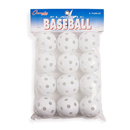 Champion Sports White Plastic Baseballs: Hollow Balls for Sport Practice or Play - 12 Pack (Ball Whiffle)