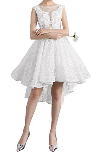 Kurz Partykleider Abendkleider Promkleid Spitzenkleid Weiß Ivydressing Damen Sweetheart Rundkragen W1H0qqOZA
