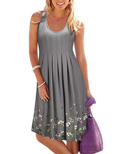 KILIG Summer Casual Loose Print Pleated Sleeveless Vest Dresses(Gray, S)