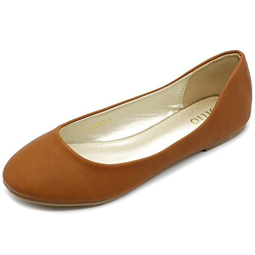 Ollio Womens Shoe Ballet Basic Light Comfort Low Heel Flat Tan NxuV4RFRgh