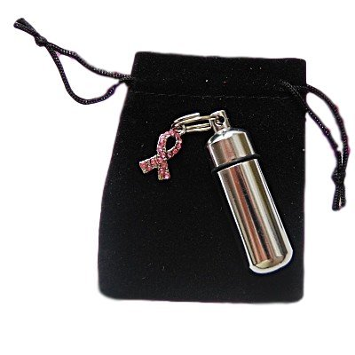 Breast Cancer Awareness CREMATION URN w/Engraved Heart - Velvet Pouch & Fill Kit