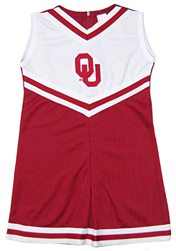(Little King NCAA Toddler/Youth Girls Team Cheer Jumper Dress-Oklahoma Sooners-4T)