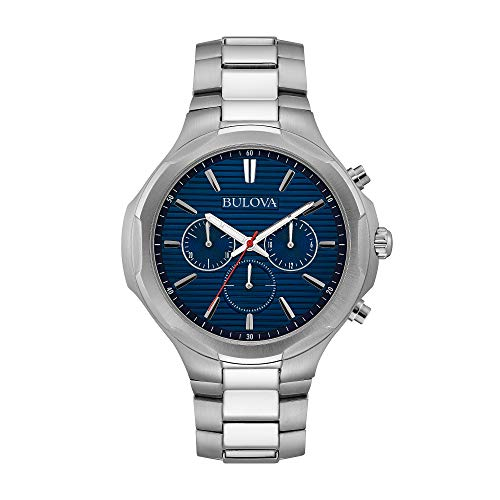 Bulova Men's Stainless Steel Blue Dial Chronograph Watch
