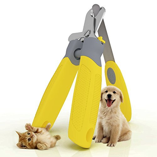 "Trim-Pet Dog Nail Clippers ~ Professional Vet Quality ~ Razor Sharp Stainless Steel Blades With Safety Guard ~ Ergonomic Designed Handles For Easy Precise Cutting ~ Groom Small, Medium Or Large Dogs And Cats ~ Nail Trimmers Designed By Veterinarians ~ Trim Animal Nails With Total Confidence (FREE Bonus Nail And Claw File) ""Healthy Pet Grooming"" LIFETIME Money Back Guarantee!"