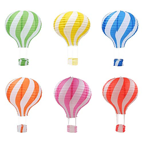 Famgee 12 inch Hanging Hot Air Balloon Paper Lanterns Set Party Decoration Birthday Wedding Christmas Party Decor Gift Set, Pack of 6 Pieces Stripe Style]()