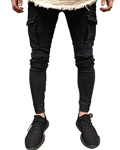 Distrutti Nero Uomo Jeans Multistrato Fit Look Moderna Da Casual Con Cargo Slim Taschino Denim Biker Qualità Alta Pantaloni Stile Stretch pHqwP7