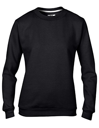 Anvil Combed Ringspun Fashion Fleece Crew Neck Sweatshirt (71000L) -Black -M