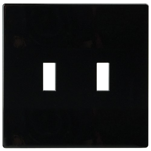 (Eaton PJS2BK-SP-L Polycarbonate 2-Gang Screwless Toggle Switch Mid Size Wall Plate, Black)