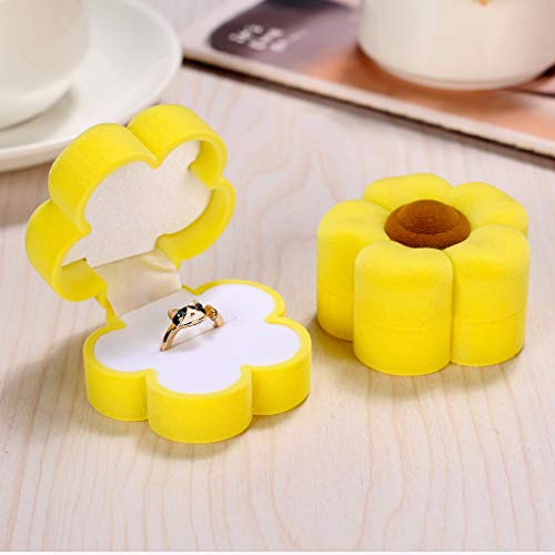 (FINEjuyudd Sun Flower Earrings Display Box Necklace Ring Gift Jewelry Case Velvet)