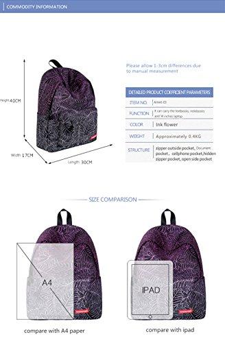 Pattern Leaves Bookbag Patterns Women's Varied Print Backpack Rucksack Amint Students Laptop a Teens 4 X7waxE