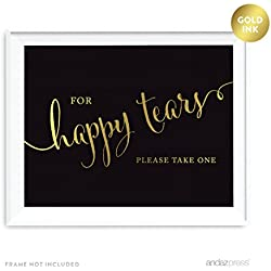 Andaz Press Wedding Party Signs, Black and Metallic Gold Ink, 8.5x11-inch, For Happy Tears Tissue Kleenex Ceremony Sign, 1-Pack
