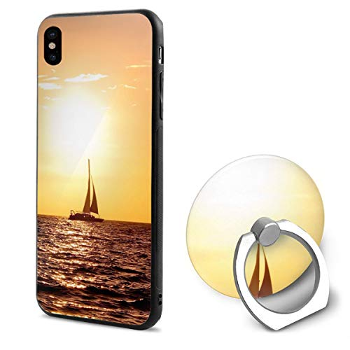 iPhone X Case Sailboat Sunshine with Ring Holder 360 Degree Rotating Stand Grip Mounts Slim Soft Protective Cover