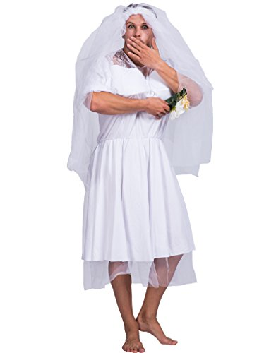 [EraSpooky Men's Halloween Funny Bride Costume(White, OneSize)] (Bride Costume For Men)