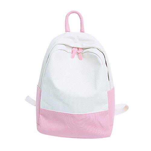 Price comparison product image AgrinTol Fashion Woemn Canvas Hit Color Shoulder Bag Student School Bag Travel Backpacks