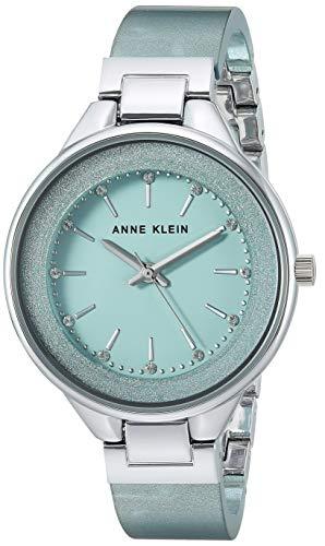 Anne Klein Women's AK/1409MISV Swarovski Crystal Accented Silver-Tone and Mint Green Resin Bangle Watch (Mint Watch)