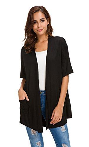 fe211b43c81e NB Womens Short Sleeve Open Front Lightweight Casual Comfy Long Line Drape  Hem Soft Modal Cardigans ...