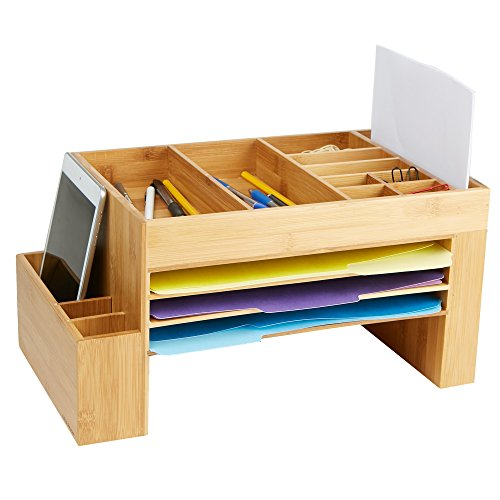 Mind Reader BMFILORG-BRN Desk File Organizer, 16 Compartments, Desk, Storage Saver, Office, Home, Eco Friendly Bamboo Brown