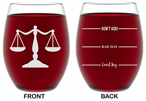 Lawyer Gifts For Women & Men - (2 Sided) Funny Unique Novelty Stemless Wine Glass Birthday or Christmas Gifts For Paralegal, Attorney or Law Student (15OZ)