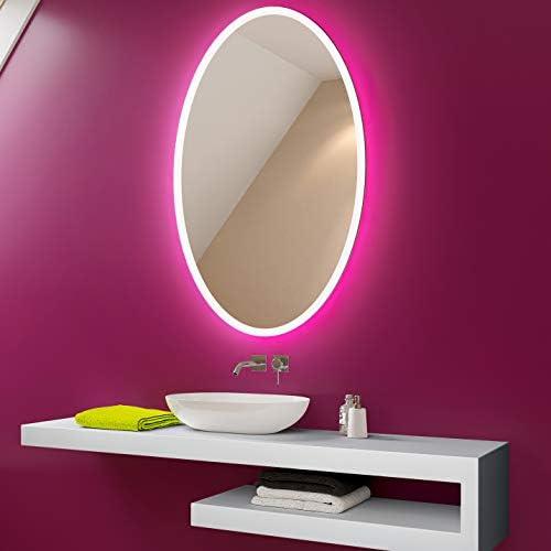 sur Mesure avec Interrupteur L74 FORAM Personnaliser Moderne Illumination Ovale LED Miroir