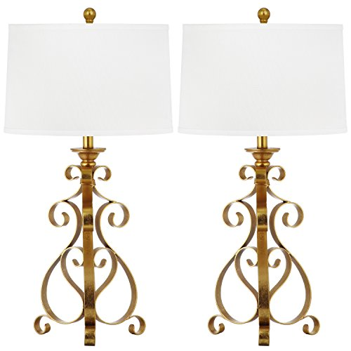 (Safavieh Lighting Collection Scroll Sculpture Antique Gold 31.5-inch Table Lamp (Set of 2))