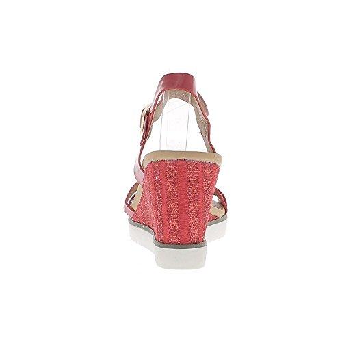 Zeppa Sandali donna dipinta di rosso e strass tacco suola di 8, 5cm bianco