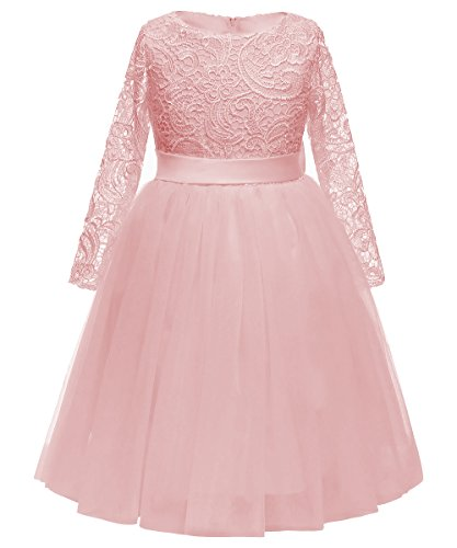 Flower Girl Dress Long Sleeves Lace Top Tulle Skirt Kids First Communion Gowns (Size 2, Pink)