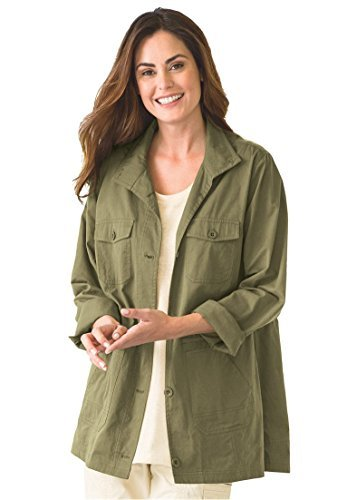 bec835c262f Image Unavailable. Image not available for. Color  Woman Within Plus Size  Sport Twill Utility Jacket ...