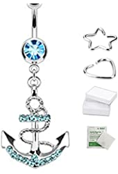 (1pc Aqua) 316L Surgical Steel Gemmed Anchor Dangle Navel Ring(Sold Individually)
