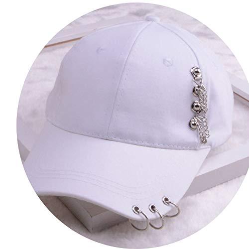 女性 リング野球帽 男性女性 白黒 野球の帽子,チェーンホワイト