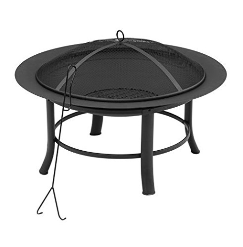 "Mainstay' Fire Pit, 28"" Includes a Spark Guard Mesh Lid with Lid Lift (1) - Spark Guard mesh cover with lift tool Put it on the patio, deck, the grass or out in the sand. PVC all -weather cover protects it from the elements - patio, outdoor-decor, fire-pits-outdoor-fireplaces - 41jGi7%2B K%2BL -"