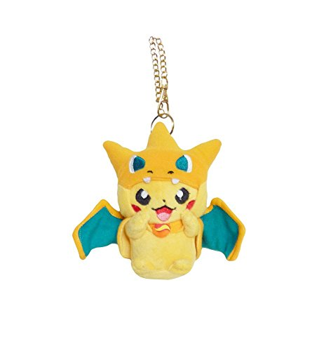 Pikachu Wearing Costume (Pokemon: 5-inch Mascot Mega Charizard Y Pikachu Plush with Key)