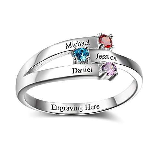 Mothers Name Birthstone Rings (Lam Hub Fong Personalzed Mother's Day Ring For 3 Children With Birthstones Names Customized 925 Silver Family Mothers Ring)