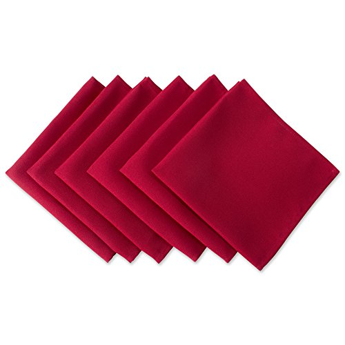 DII Wrinkle Resistant 20x20'' Polyester Napkin, Pack of 6, Red - Perfect for Brunch, Catering Events, Thanksgiving, Dinner Parties, Christmas and Everyday Use by DII