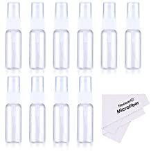 Neewer® 10-pack Empty Clear Plastic Fine Mist Spray Bottles with Microfiber Cleaning Cloth, 20ml Refillable Container Perfect for Cleaning Solutions, Oils, Air Freshener, Toner and More
