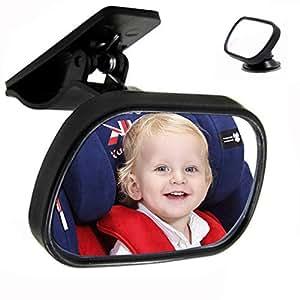 RabbitStorm Vista Posterior del Bebé Espejo Retrovisor del Niño Asiento de Seguridad Asiento del Bebé Vista Posterior del Automóvil Espejo Auxiliar Auxiliar con Ventosa, Dos Formas de Uso: Ventosas y Férulas.