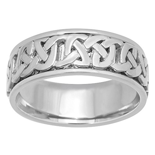 18K White Gold Celtic Love Knot Men's Comfort Fit Wedding Band (8.5mm) Size-9c1 by Wedding Rings Depot (Image #2)