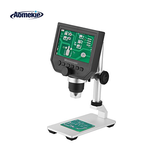 Aomekie 4.3 LCD Microscope Digital Soldering 1 600X Zoom Magnifier with Screen 8 LED Adjustable Light and Rechargeable Lithium Battery for Cellphone PC Circuit Board SMD Repair Metal Stand