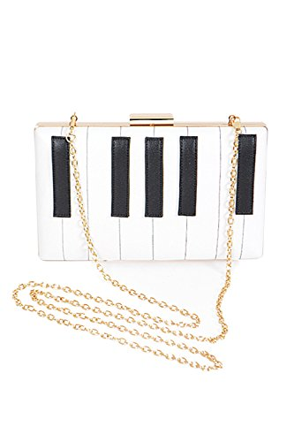 Womens Piano Keyboard Chain Strap Unique Fashion Clutch Bag PPC5388 (White) by GENx