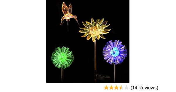 Outdoor LED Color Changing Solar Garden Stake Light Dandelion 4-pack
