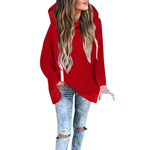 Price comparison product image Girls' Jacket,  Misaky 2017 Women Fall Zip Hoodie Sweatshirt Pullover Top (S,  Red)