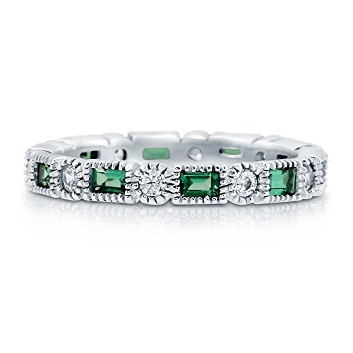 Emerald Cut Diamond Ring Settings (BERRICLE Rhodium Plated Sterling Silver Cubic Zirconia CZ Art Deco Eternity Band Ring Size 7)