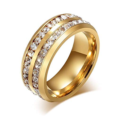 - Fsmall 8mm Titanium Stainless Steel Double Row Gold Plated Channel Set Cubic Zirconia CZ Crystal Rings for Unisex Wedding Band Comfort Fit Size 8-13 (11)