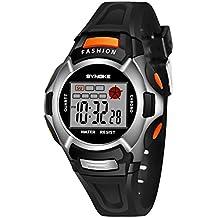 Children Waterproof Watches, Anxinke Students Boys PU Strap Date LED Digital Sport Wristwatch (Black)
