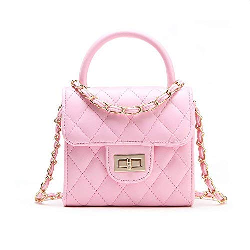Pinky Family Fashion Kids Toddler Handbags PU Leather Crossbody Bags Gifts for Girls (Pink)