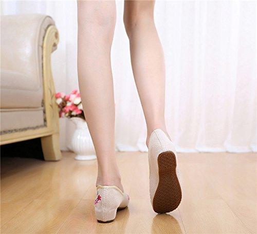 Bininbox Kvinnor Kinesiska Nationella Broderade Blommor Skor Ballerina Flat Ballet Dagdrivare Beige